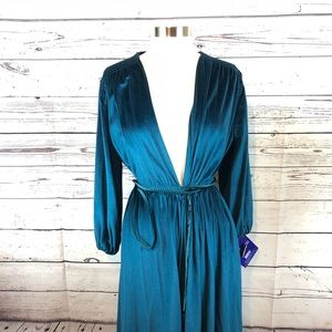 Miss Elaine vintage green blue robe Triacetate